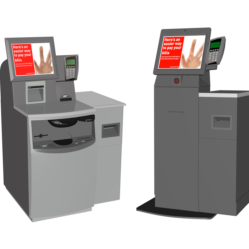 Bill payment kiosks for NZ Post - NCR Self Serv 60 and the SCO V5 Cash Kiosk with additional sidecar containing Zebra Printer (required for car registration label printing)